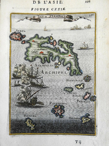 Astypalaia Dodecanese Greek Islands Aegean Sea Stampalia 1683 Mallet map