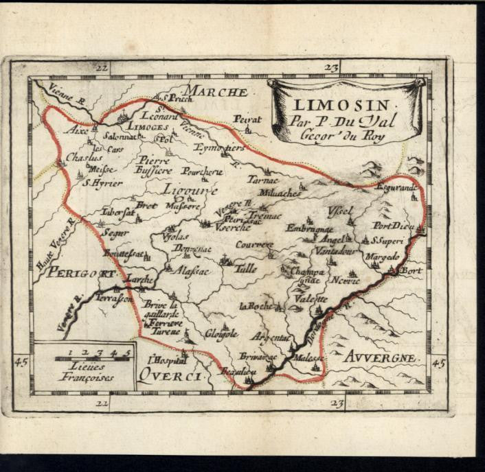 Limousin Pierre Bussiere France 1730 antique engraved hand color map