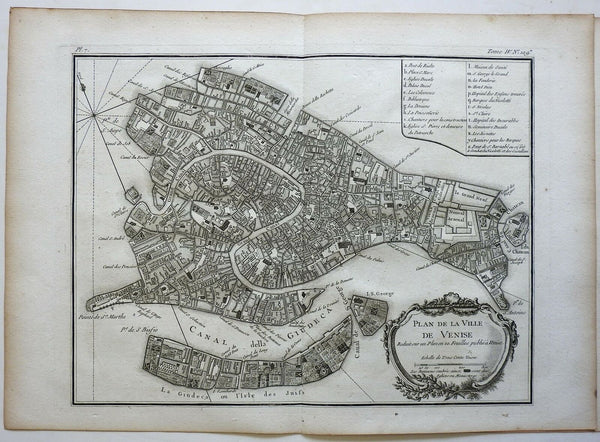 Venice Italy detailed city plan Grand Canal Venetian Arsenal 1760 Bellin map