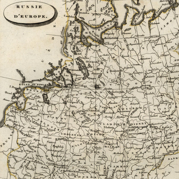 1804 Russia in Europe 1804 uncommon engraved old hand color map