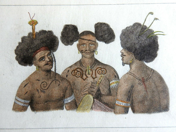 Tribal Chiefs Papua New Guinea Tattoos Jewelry 1837 scarce French ethnic view