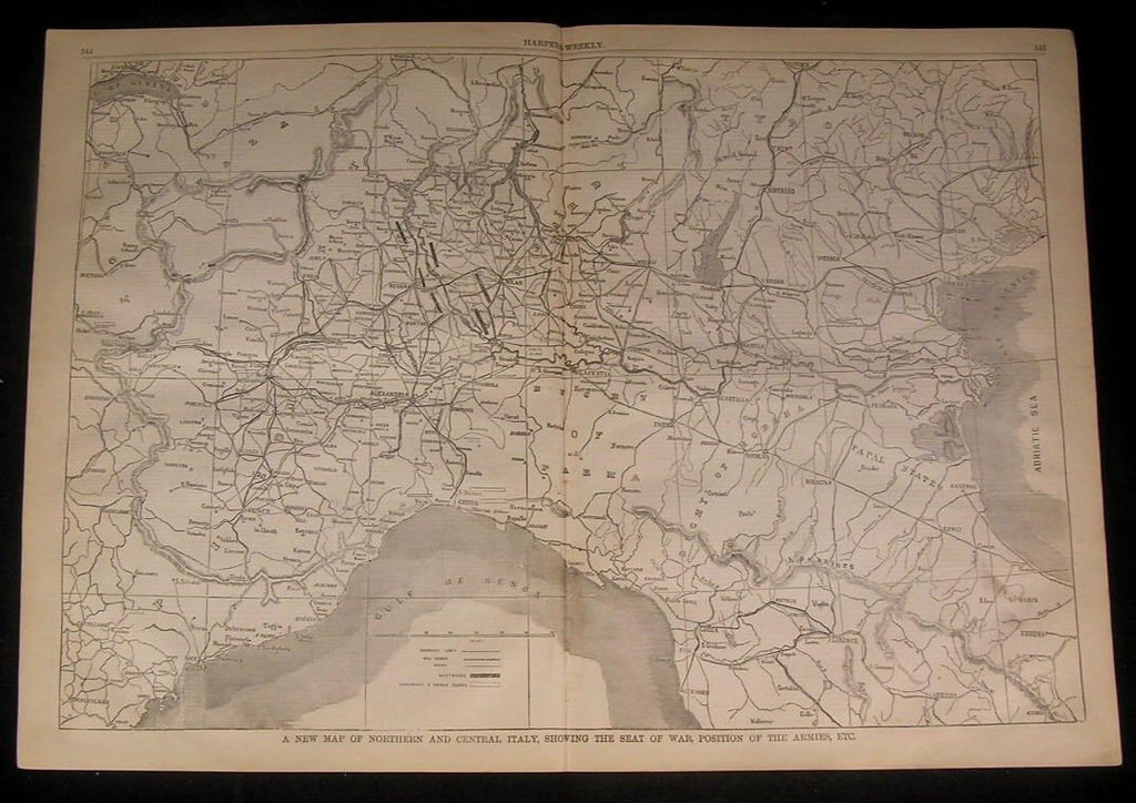 Northern & Central Italy Papal States Apennine 1859 antique wood engraved map