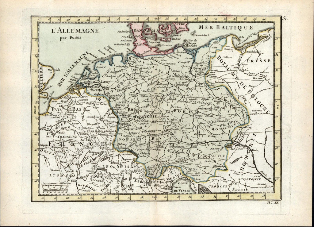Germany Postal Map German Offices routes of travel 1768 Le Rouge old antique map