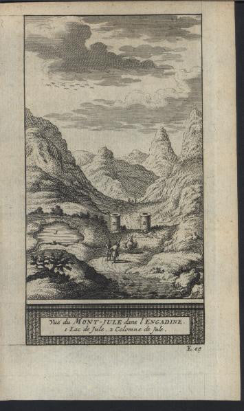 Engadin Switzerland Mount Jule 1714 antique van der Aa fine view print