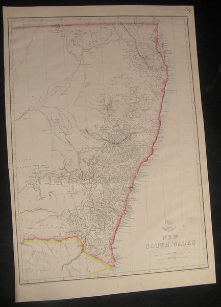 New South Wales Australia c.1863 Weller folio scarce old vintage antique map