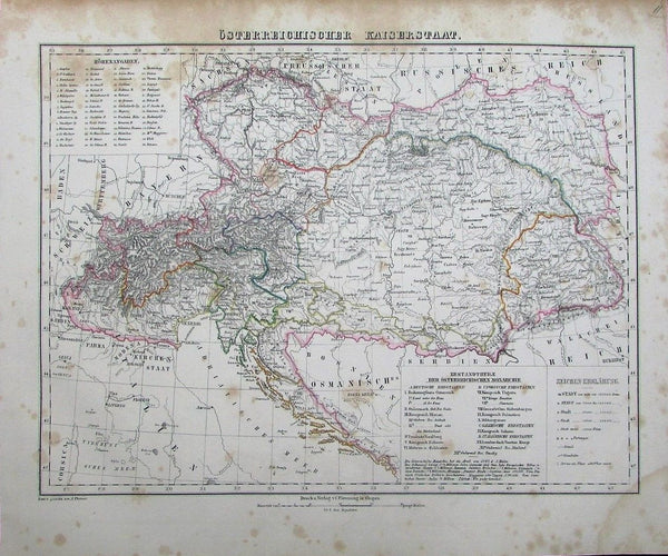 Austria-Hungary Balkans Bavaria Walachia c.1849 antique detailed German map