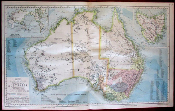 Australia coral reefs 1883 Lett's wonderful scarce oversized SDUK re-issue map