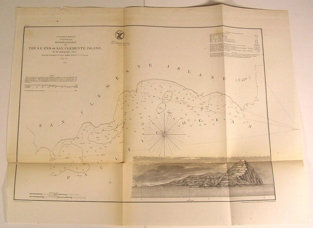 S.E. End of San Clemente Island California View 1856 U.S.C.S. old nautical map