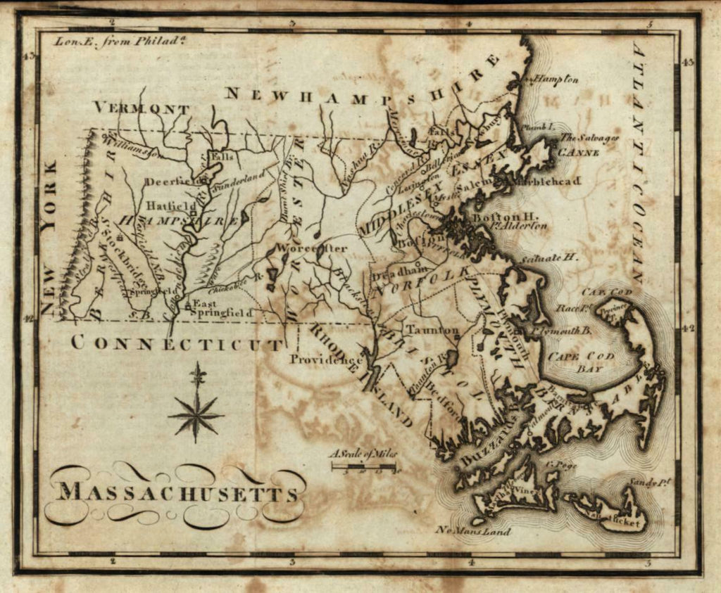 Massachusetts state map 1795 scarce Scott Bailey Wheat & Brun #216 miniature