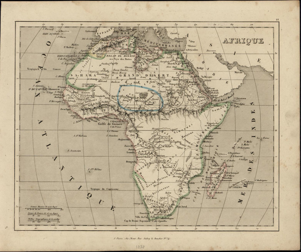 Africa w/ vast Mts. of Moon 1838 scarce old French map