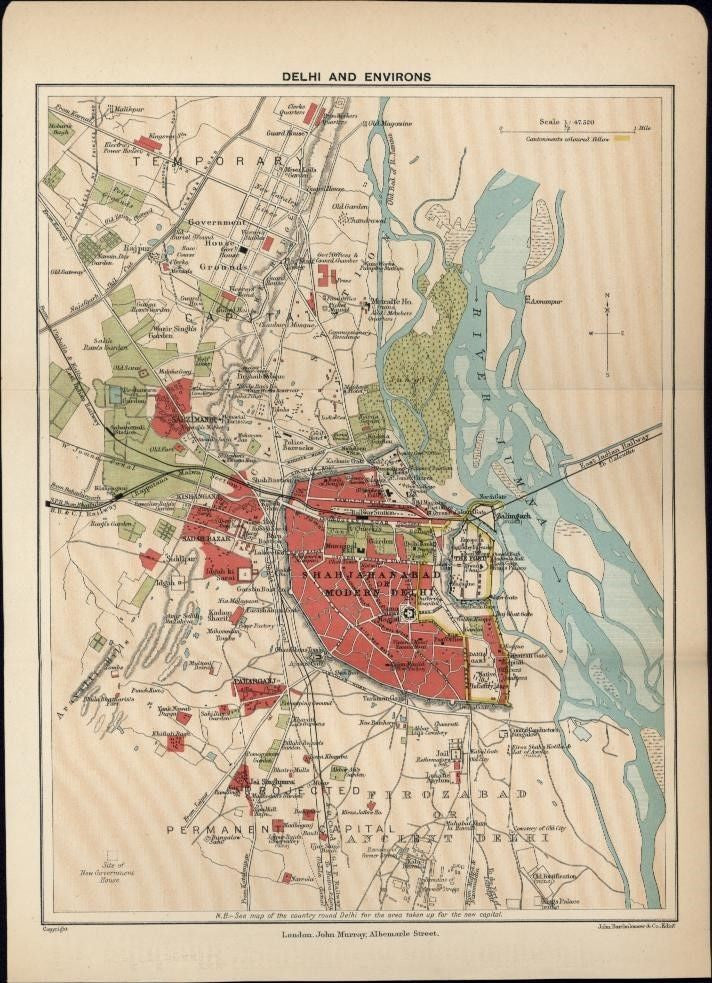Delhi India 1920's litho small nice detailed color city plan map