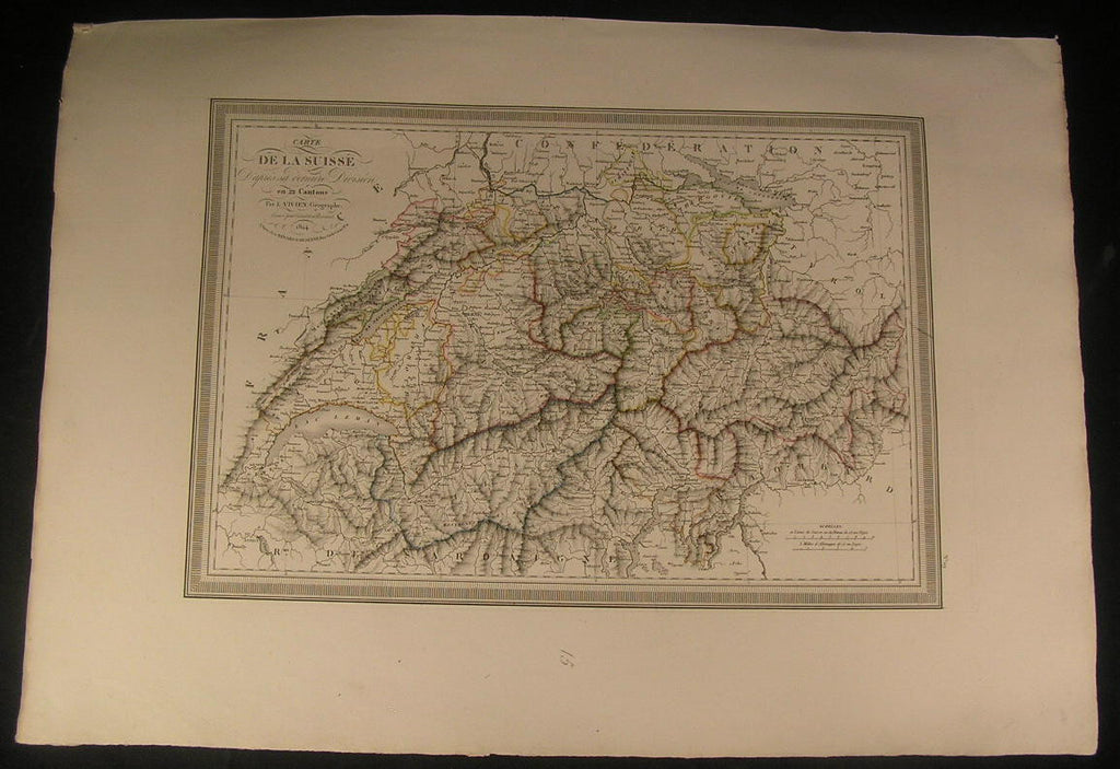 Switzerland Swiss Alps Lake of Geneva Bern 1824 antique Vivien large color map