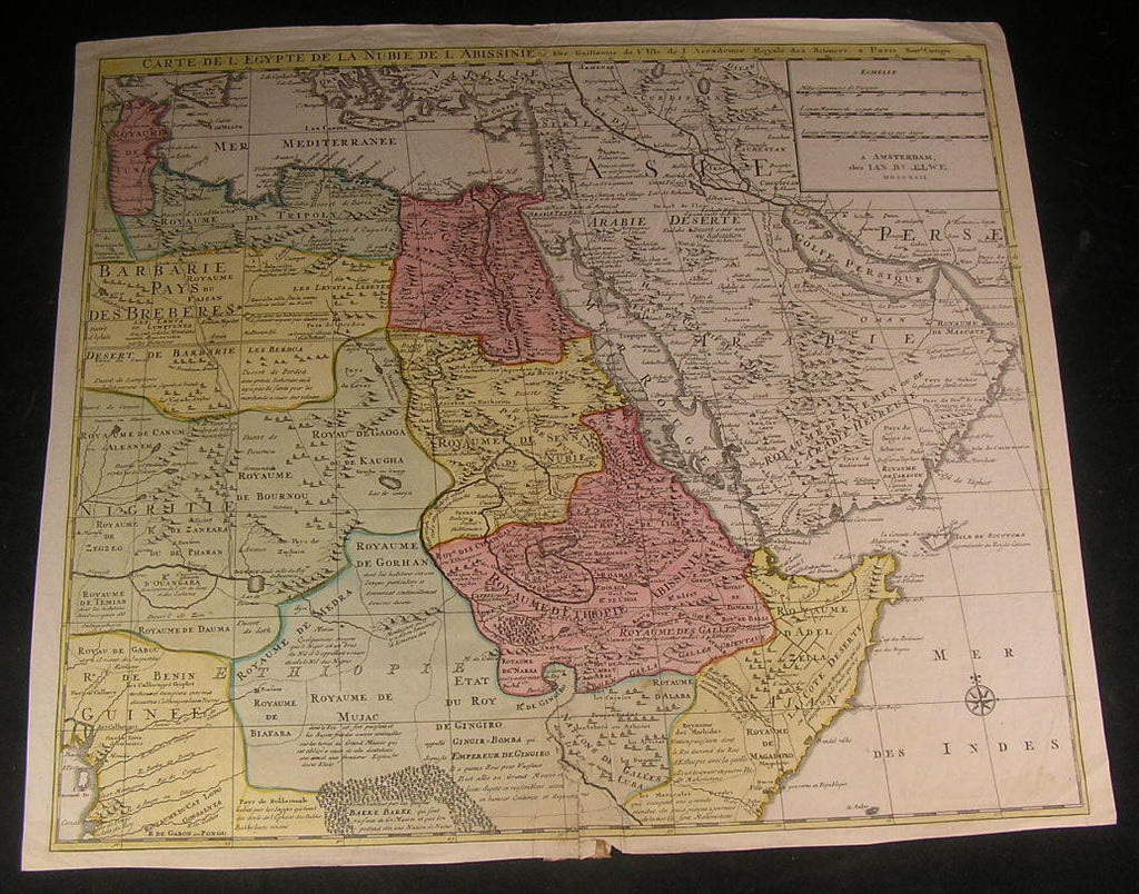 Arabia Egypt Africa Emerald Mts. Large 1792 Dutch Elwe rare antique old map