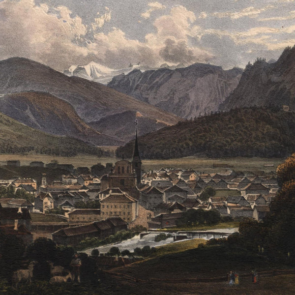 Bad Ischl Austrian resort c.1830 beautiful old hand color birds-eye view print