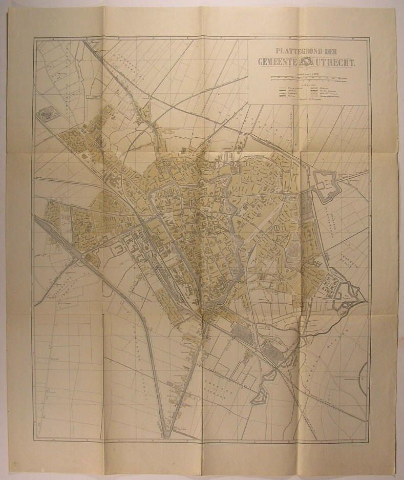 Utrecht Netherlands Nederland City Plan c. 1915 antique folding map