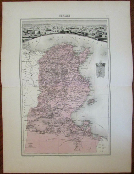 Tunisia North Africa France colony c.1890 antique map birds-eye Tunis city view