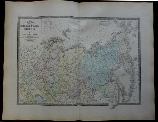 Central Asia Siberia Russia Mongolia c 1830's Brue large detailed map hand color