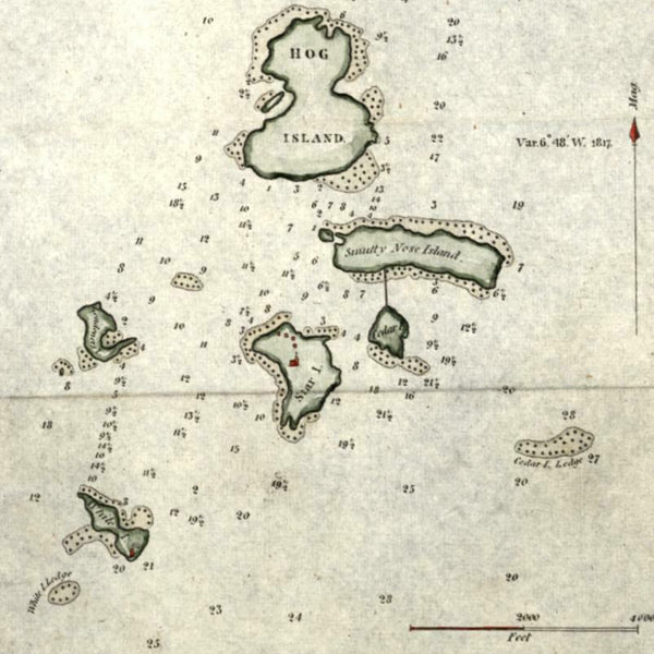 Isles of Shoals Maine New England 1827 Blunt miniature nautical chart map