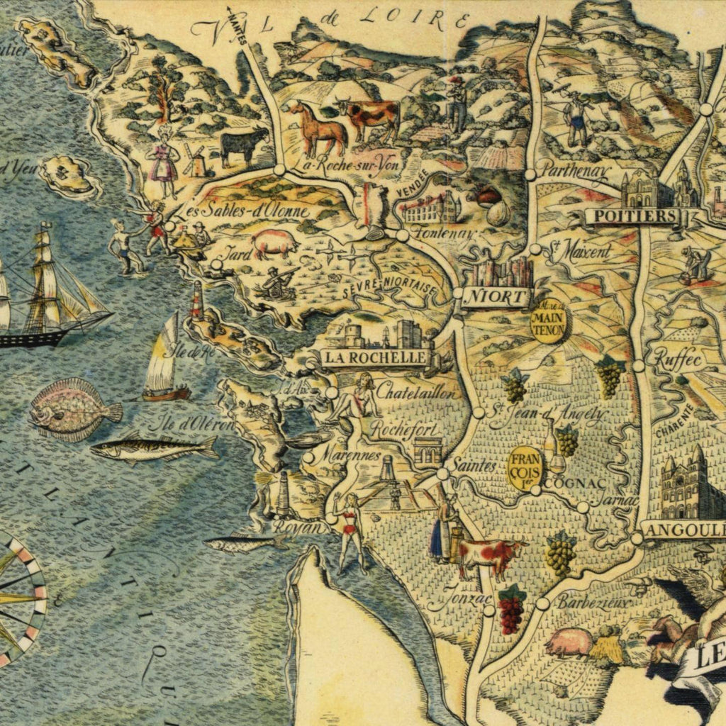 Old Map Of France.Pays France Small Cartoon Map C 1950 Decorative Colorful Old Map
