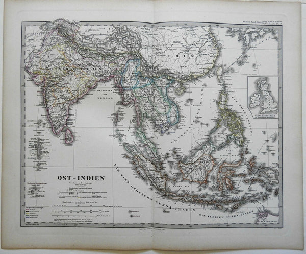 Southeast Asia British Raj Malaysia Indonesia 1874 Stulpnagel detailed map