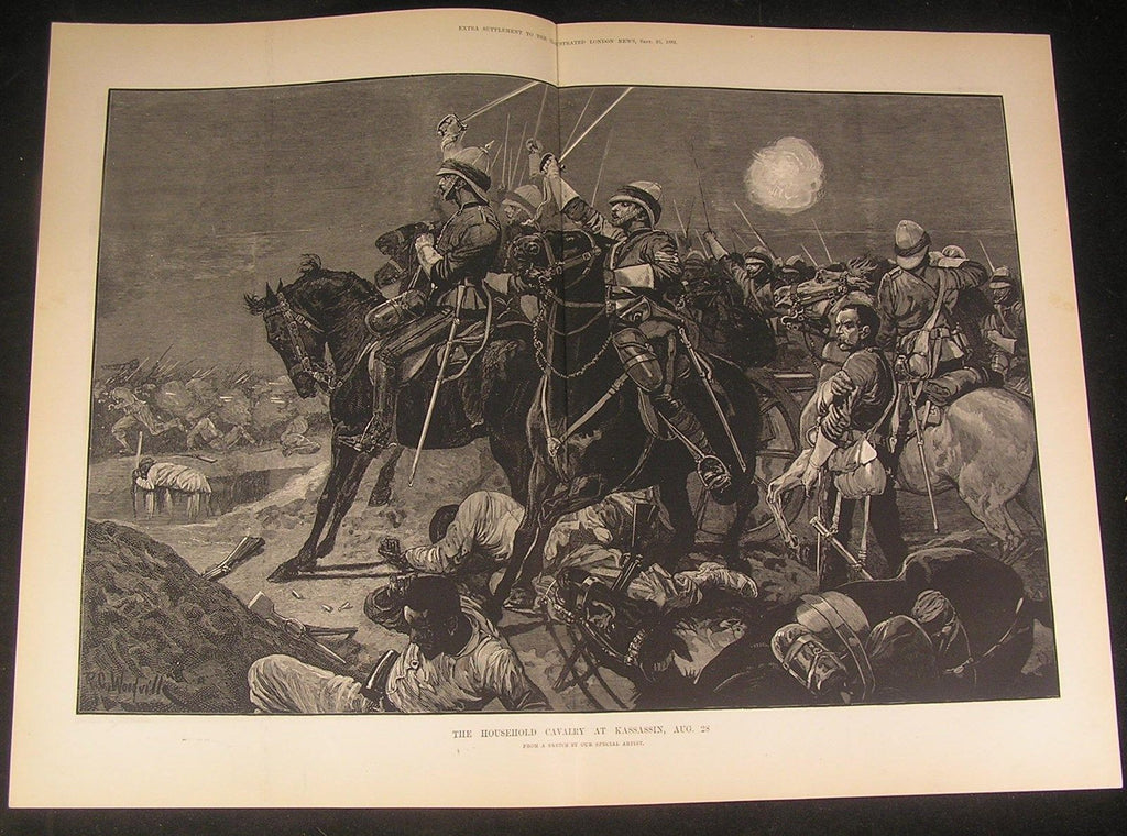 British Household Cavalry Repulsing Egyptians 1882 antique wood engraved print