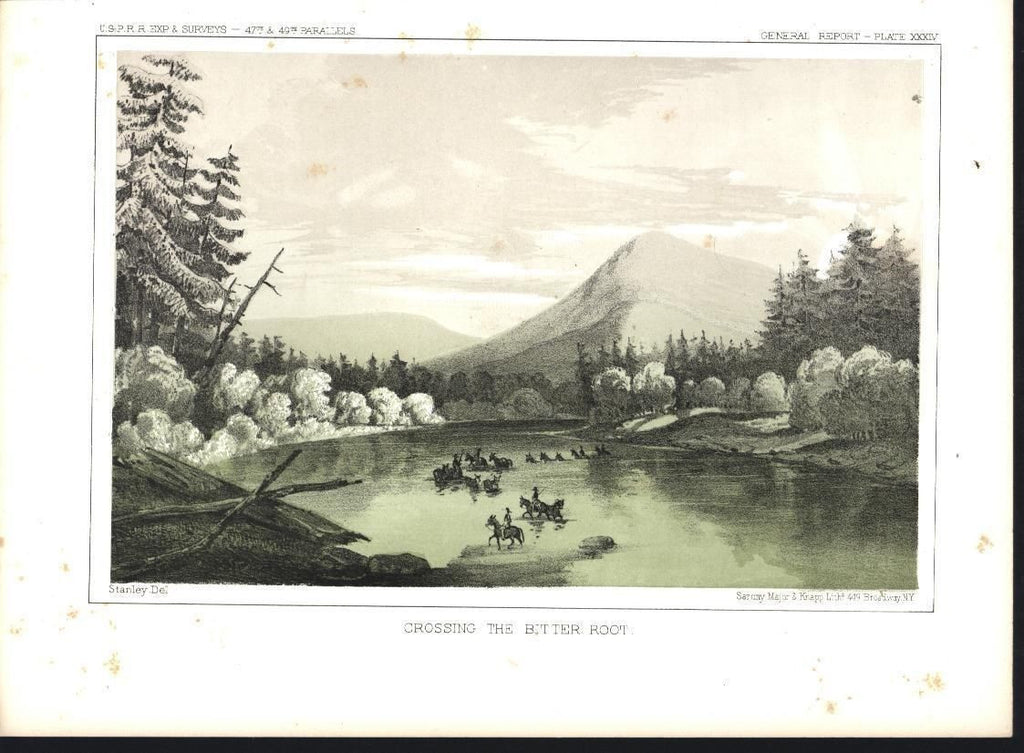 Crossing the Bitter Root river West U.S. c.1860 antique color lithograph print