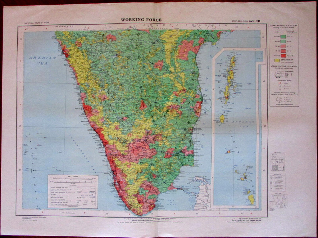Working Force Southern India Andaman Nicobar isles 1978 National Atlas India map