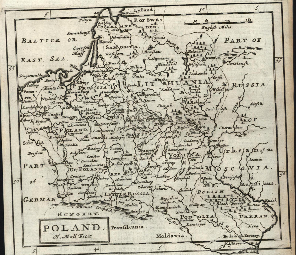 Poland Kingdom Lithuania Moscovia 1709 H Moll Old Engraved Map