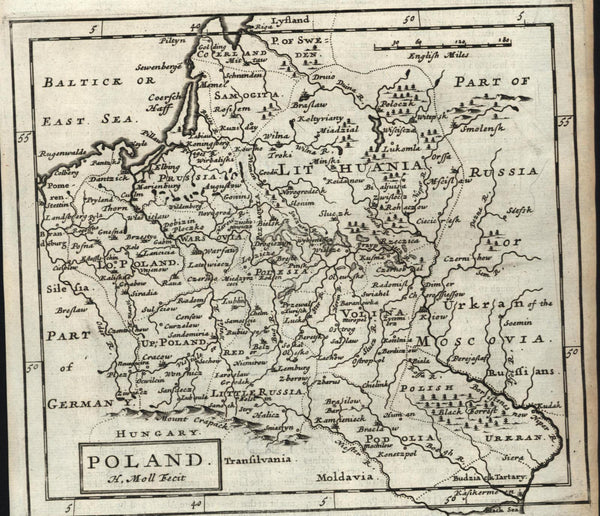 Poland Kingdom Lithuania Moscovia 1709 H. Moll old engraved map