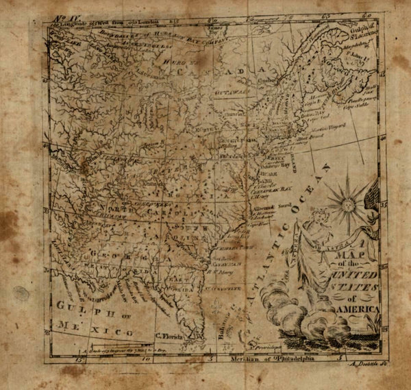 United States eagle in cartouche 1790 Doolittle scarce American engraved map