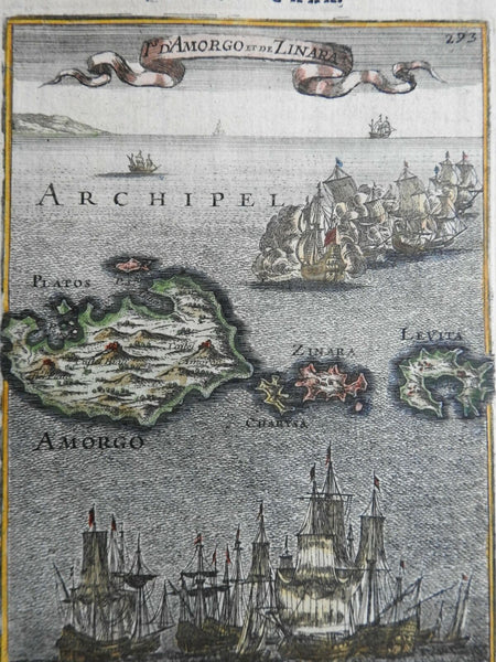 Amorgos Kinaros Cyclades Sailing Ships Sea Battles 1683 Mallet decorative map