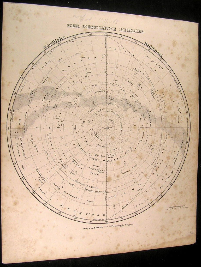 Stars Sky Map Constellations Northern Hemisphere 1849 Flemming antique chart map