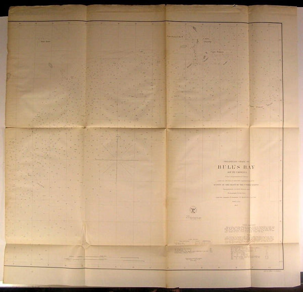 Bull's Bay South Carolina Cape Roman nice 1857 U.S.C.S. old big nautical chart