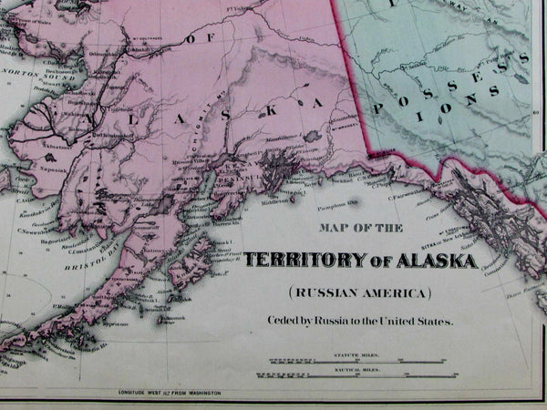 Russian Alaska America Territory Seward's ceded by Russians 1877 old OW Gray map