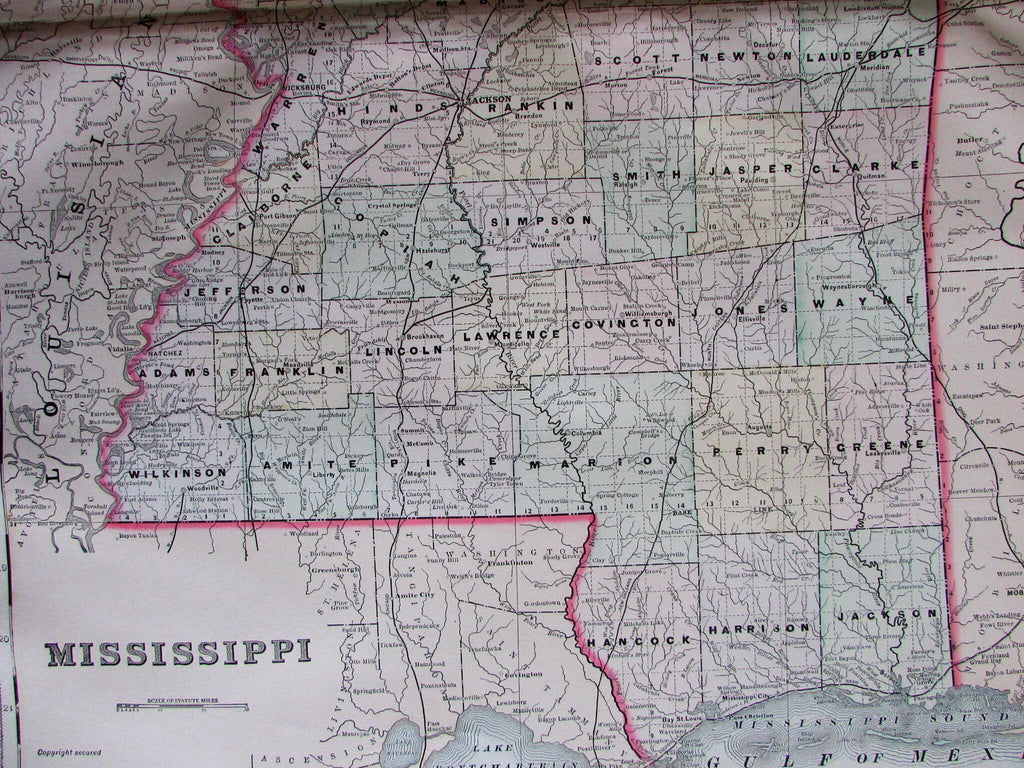 Mississippi state detailed 1889 Bradley large oversized hand colored old map