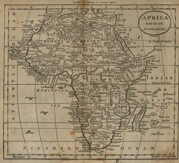 Africa continent w/ Man Eaters 1796 Doolittle scarce American engraved map
