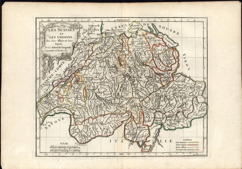 Switzerland 1780's Vaugondy antique engraved hand color map