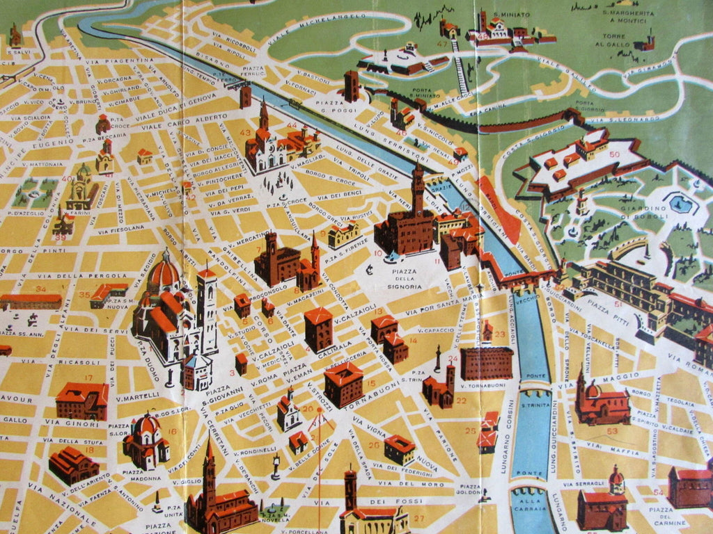 Florence Italy Europe c.1920-30 Vintage cartoon style Europe City Plan birdseye