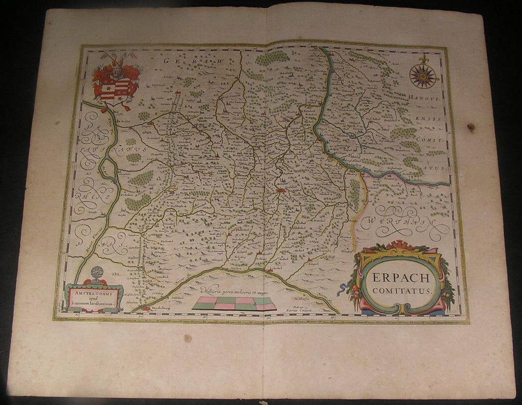 Erbach County Germany 1644 Jansson van der Keere fine antique hand color map
