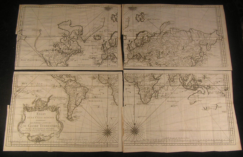 World 1748 by Bellin rare decorative 4 sheet large antique map set