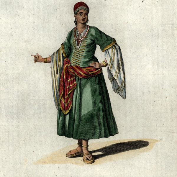 Wealthy Barbary coast Lady Habit Fashion north Africa 1779 nice antique print