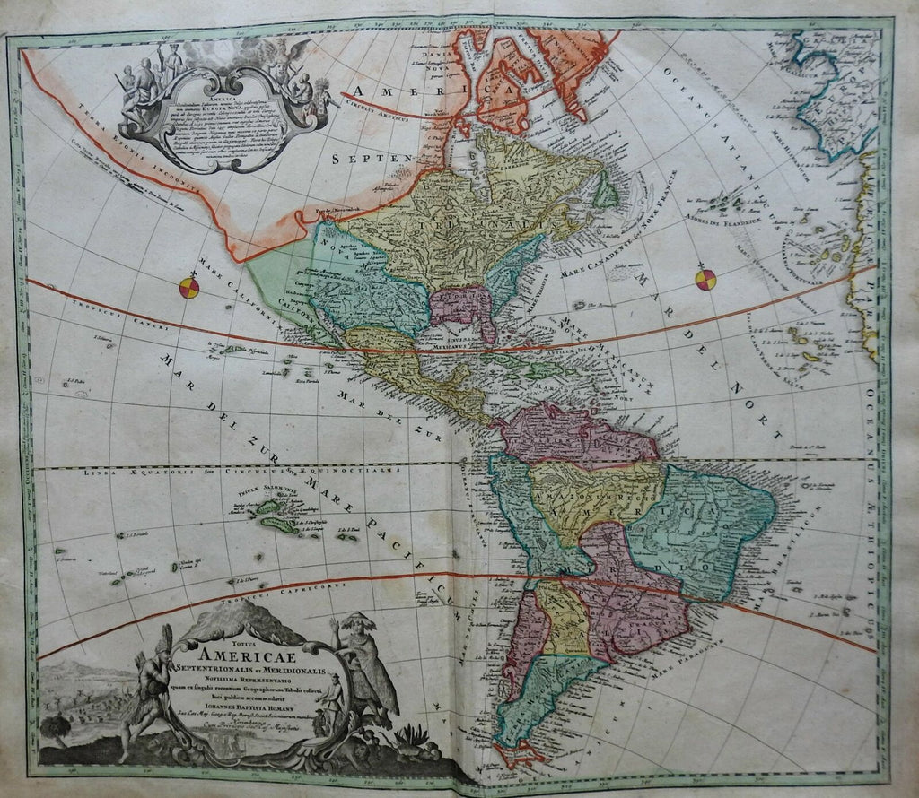 North and South America Colonial America c. 1740 Homann decorative folio map