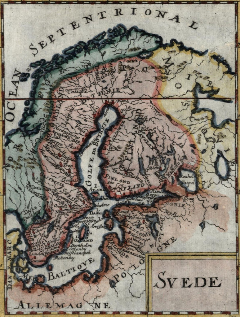 Sweden Norway Scandinavia Finland Estonia Russia 1719 old Mallet map hand color