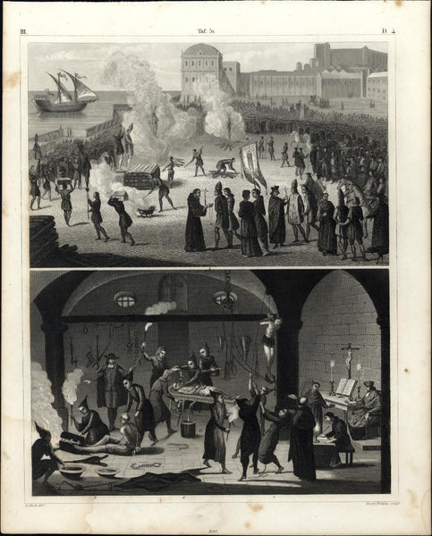 Torture dungeon Burning Stake 1850s remarkable antique engraved print