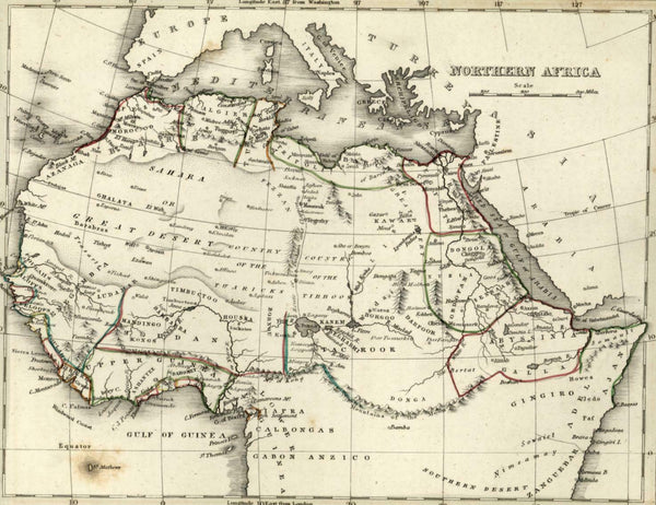 Northern Africa shows prominent apocryphal Mts of Moon 1838 Bradford antique map