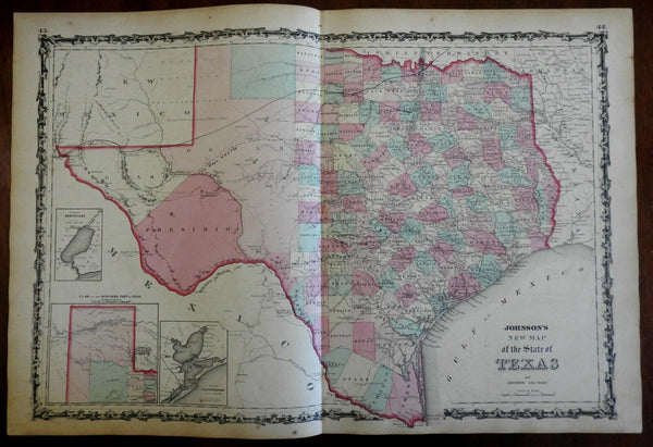 Texas State Map Galveston Bay 1862 Johnson & Ward map scarce Issue