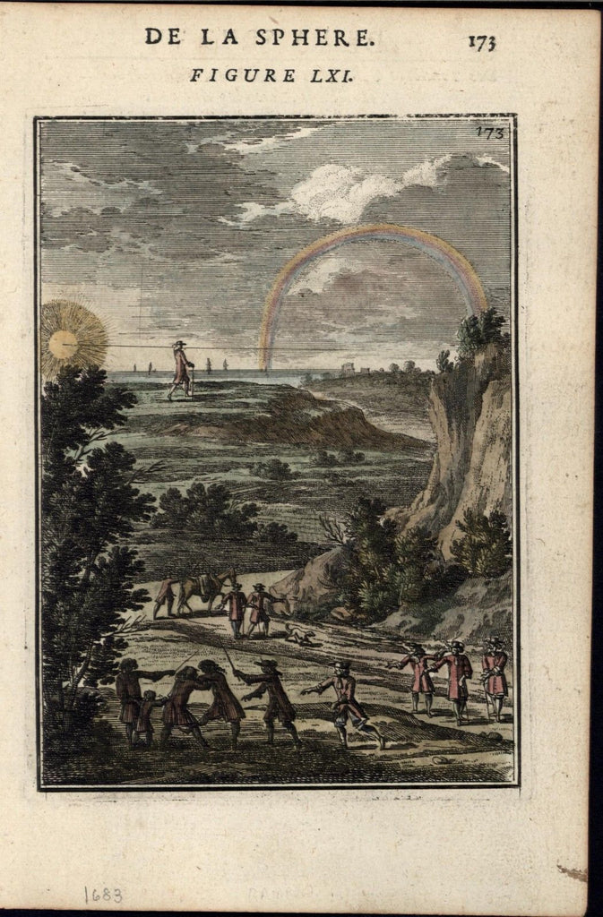 Sword duel rainbow sun nature scientific measurement 1683 Mallet old print