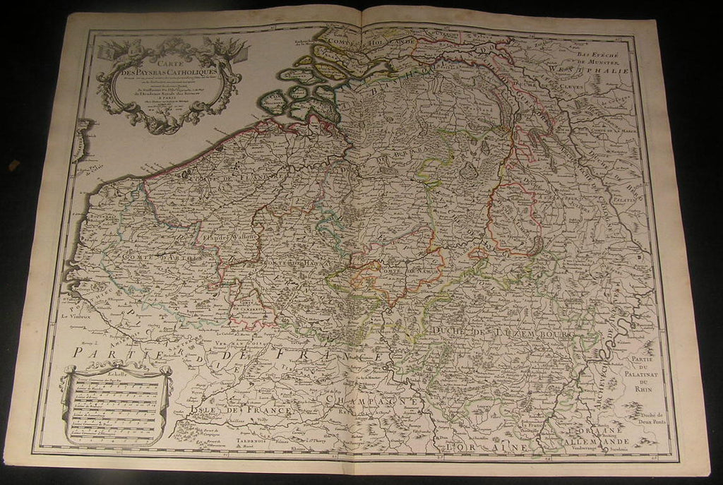 Catholic Netherlands Artois Flanders Liege Luxemburg 1702 Delisle antique map