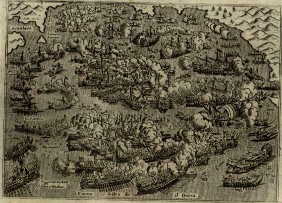 Greece Gulf of Corinth Naval Battle Lepanto Ottoman Empire 1620 Porcacchi print