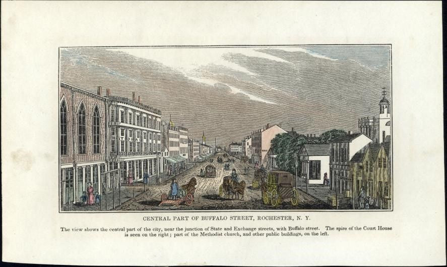 Rochester New York Buffalo Street early rare old view 1841 woodcut hand color